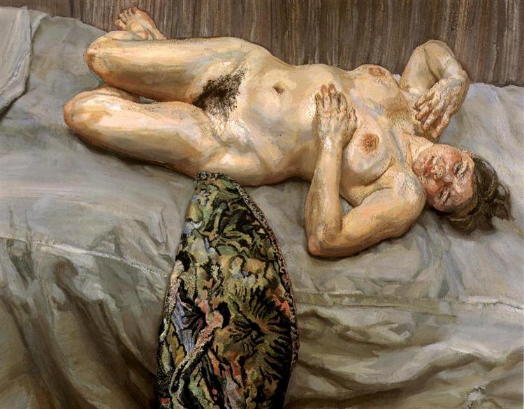 Portrait on a Grey Cover, 1996 - Lucian Freud