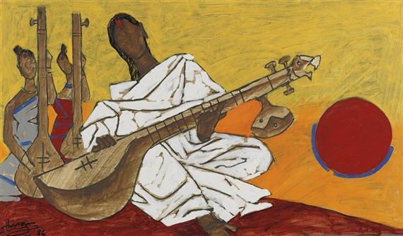Untitled (Woman Playing Sitar), 1986 - M.F. Husain