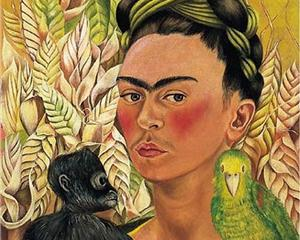 Self Portrait with Monkey and Parrot - Frida Kahlo