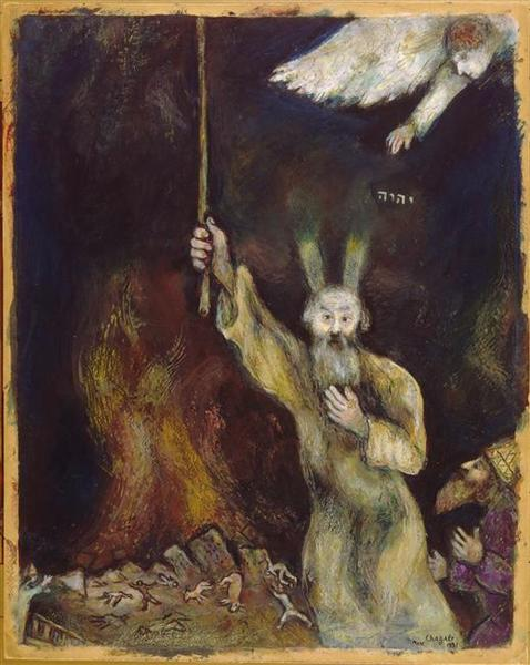 Moses spreads the darkness over Egypt, 1931 - Marc Chagall