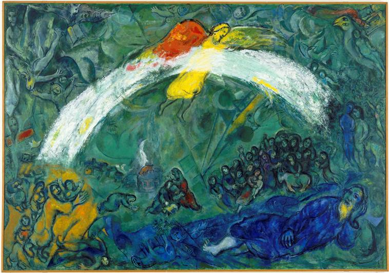 Noah and the Rainbow, 1966 - Marc Chagall - WikiArt.org Chagall Afbeeldingen