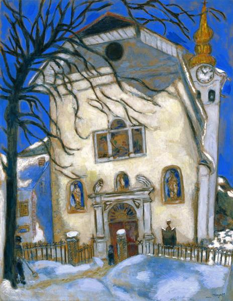 Snow-covered church, c.1927 - Marc Chagall