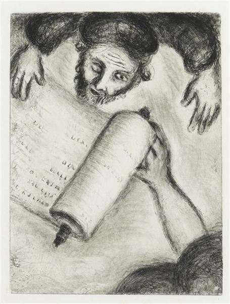 The calling of Ezekiel (Ezekiel, II, 8X, III, 3), c.1956 - Marc Chagall