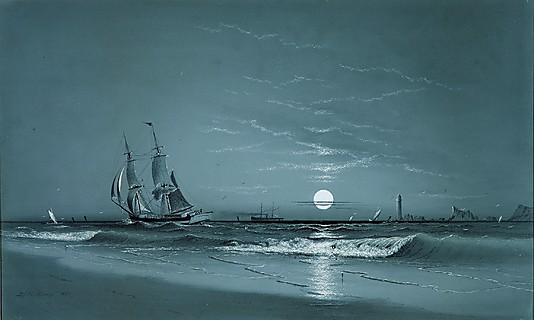 Entrance to harbor, Moonlight, 1881 - Marcus Larson