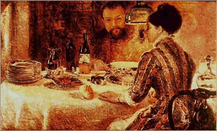 Under the Lamp, 1887 - Marie Bracquemond