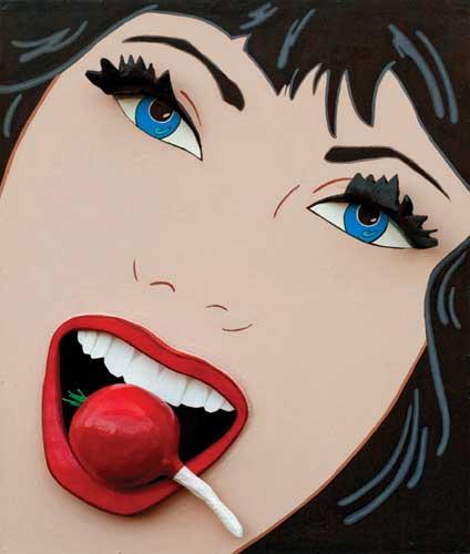 marjorie strider - female pop art artist - girl with the radish
