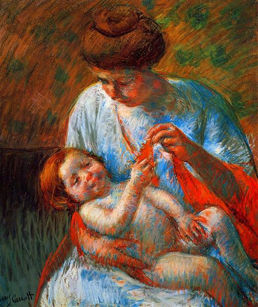 Baby Lying on His Mother s Lap, reaching to hold a scarf, 1914 - Mary Cassatt