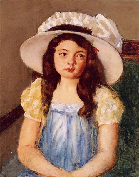 Francoise Wearing a Big White Hat, c.1908 - Mary Cassatt