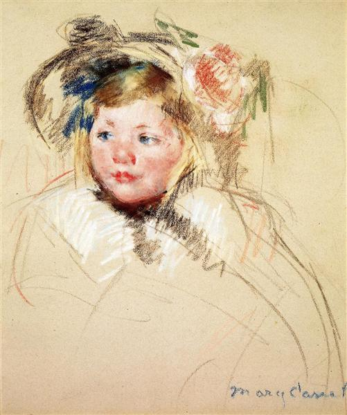 Head of Sara in a Bonnet Looking Left, 1901 - Mary Cassatt