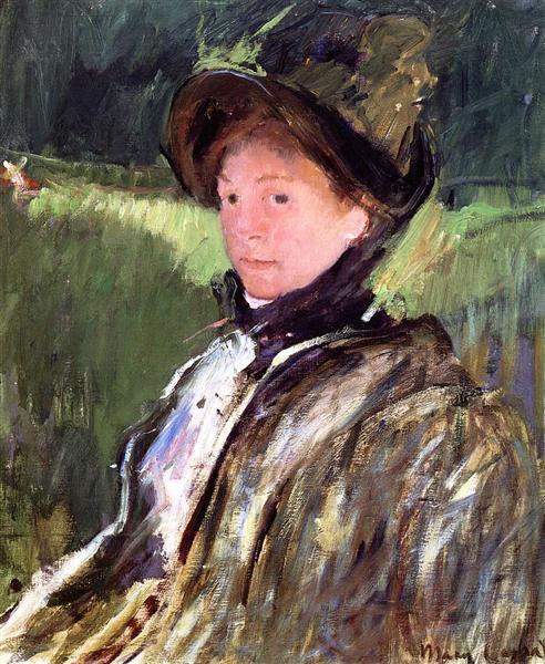Lydia Cassatt in a Green Bonnet and a Coat, c.1880 - Mary Cassatt