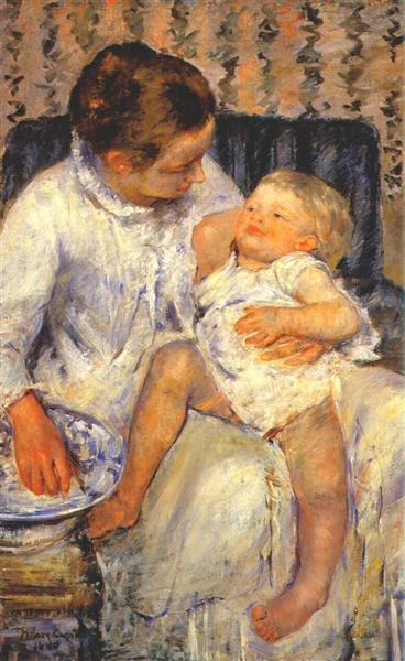 Mother about to Wash her Sleepy Child, 1880 - Mary Cassatt
