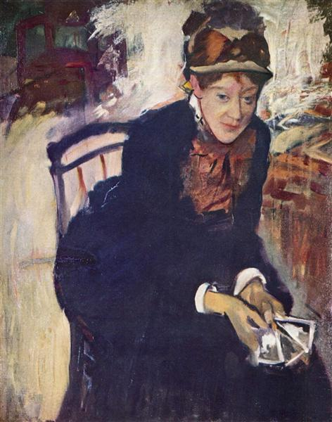 Portrait of Miss Cassatt, holding the cards, c.1876 - Mary Cassatt