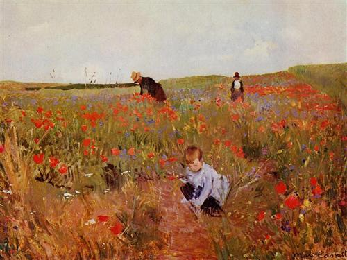 Red poppies - Mary Cassatt