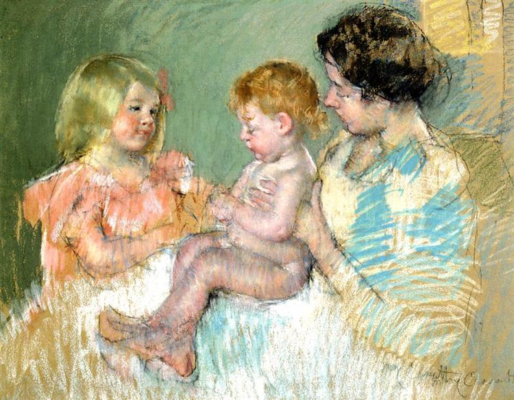 Sara and Her Mother with the Baby, c.1901 - Mary Cassatt