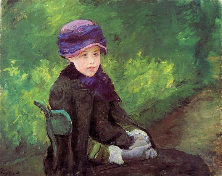 Susan Seated Outdoors Wearing a Purple Hat, c.1881 - 玛丽·卡萨特