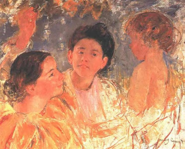 Two Young Girls with a Child, 1897 - Mary Cassatt
