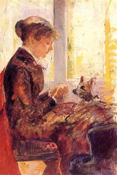 Woman by a Window Feeding Her Dog, c.1880 - Mary Cassatt