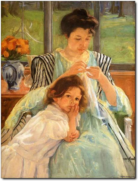 Young Mother Sewing, 1900 - Mary Cassatt