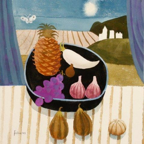 Still life with pineapple and butterfly, 2008 - Mary Fedden
