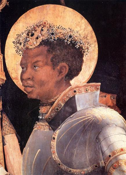 St. Maurice (detail from The Meeting of St. Erasmus and St. Maurice), c.1520 - c.1524 - Matthias Grünewald
