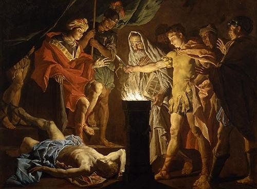 Mucius Scaevola in the Presence of Lars Porsenna - Matthias Stom