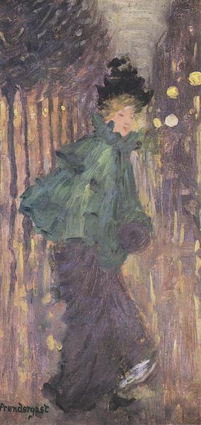 Señora en el Boulevard - Maurice Prendergast