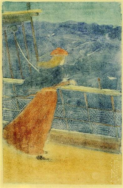 Woman on Ship Deck, Looking out to Sea (also known as Girl at Ship s Rail), c.1895 - Maurice Prendergast