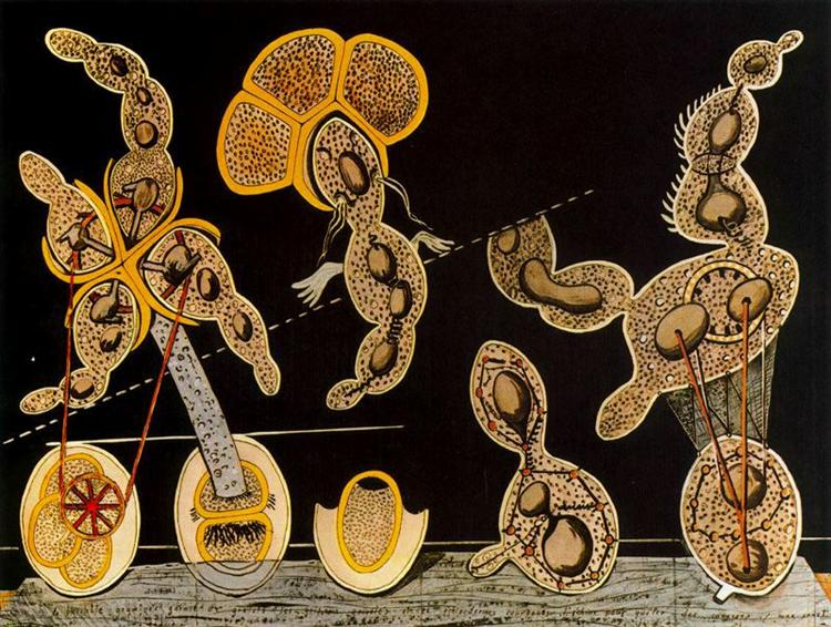The Gramineous Bicycle Garnished with Bells the Dappled Fire Damps and the Echinoderms Bending the Spine to Look for Caresses by Max Ernst (1920), Cologne, Germany