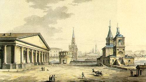 View of Manege, Kutafya Tower and churches of St. Nicholas in the Sapozhki, 1817 - Maxim Vorobiev