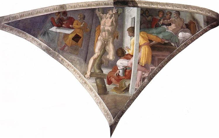 Sistine Chapel Ceiling: The Punishment of Haman, 1512 - Michelangelo