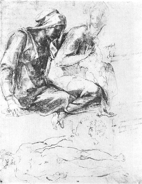 """Study to """"Madonna and Child with St.John the Baptist"""", c.1540 - Michelangelo"""