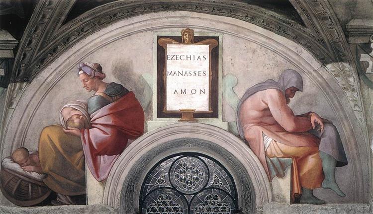 The Ancestors of Christ: Manasseh, Amon, 1512 - Michelangelo