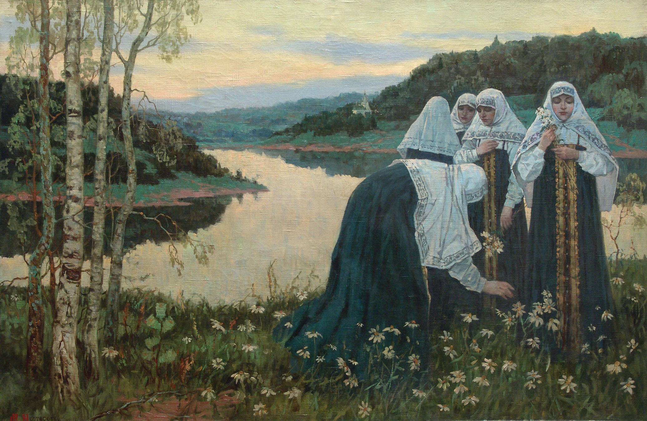 Girls on the bank of the river