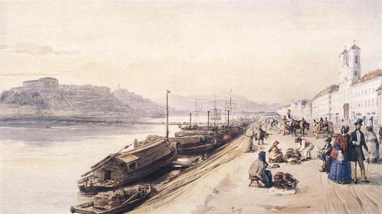 Quay of the Danube with Greek Church in 1843, 1843 - Miklós Barabás