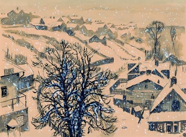 Kaunas. Zhalyakalnis in winter., 1939 - Mstislav Dobuzhinsky