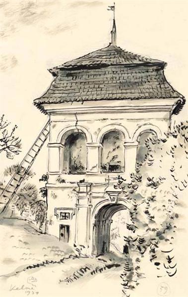 Kelmė. Gates of estate., 1934 - Mstislav Dobuzhinsky