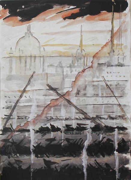 "Leningrad in blockade. Sketch on the theme of ""Leningrad Symphony"" of D. D. Shostakovich., c.1943 - Mstislav Dobuzhinsky"