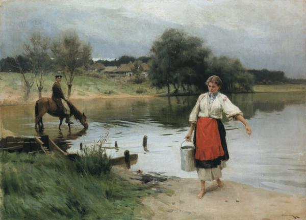 At the River - Mykola Pymonenko