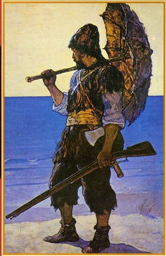 Robinson Crusoe illustration - N.C. Wyeth