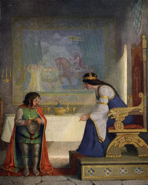 The lady Lyoness had the dwarf in examination, 1922 - N.C. Wyeth