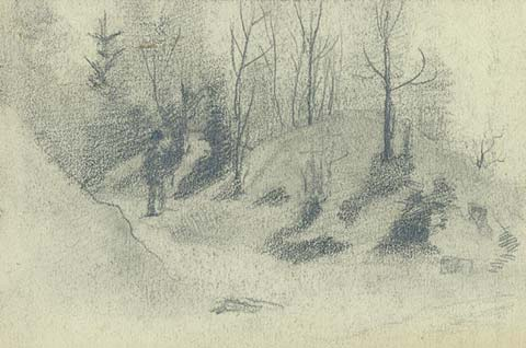 Sketch of countryside, c.1890 - Nicholas Roerich