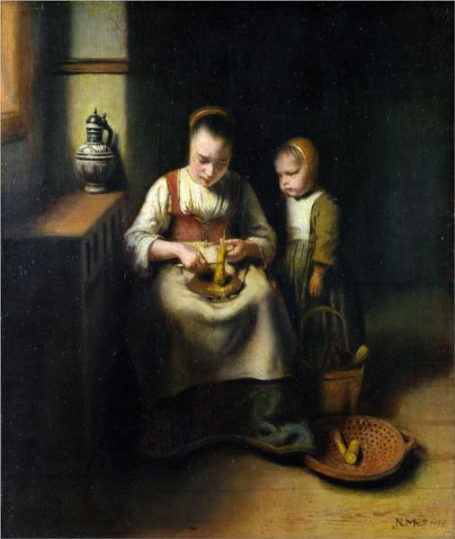 A Woman Scraping Parsnips, with a Child Standing by Her - Nicolaes Maes
