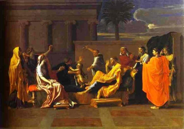 Младенец Моисей попирает корону фараона, 1645 - Николя Пуссен