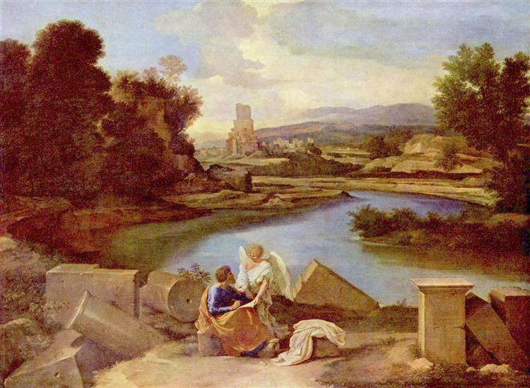 Landscape with St. Matthew and the Angel - Poussin Nicolas