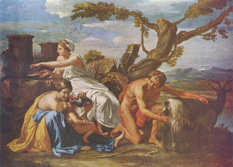 The Infant Jupiter Nurtured by the Goat Amalthea, c.1638 - Nicolas Poussin