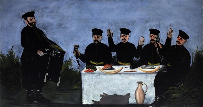 The feast with barrel organist Datiko Zemeli, 1906