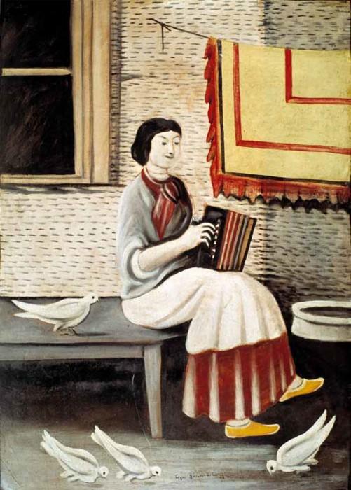 Sona Gorashvili playing accordion, 1898