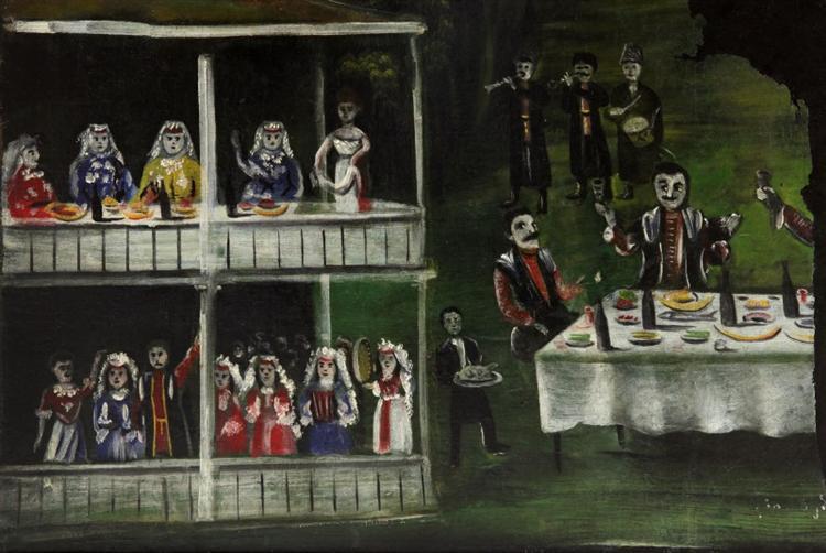 Кутеж возле двухэтажного дома (уцелевшая часть картины) - Нико Пиросмани