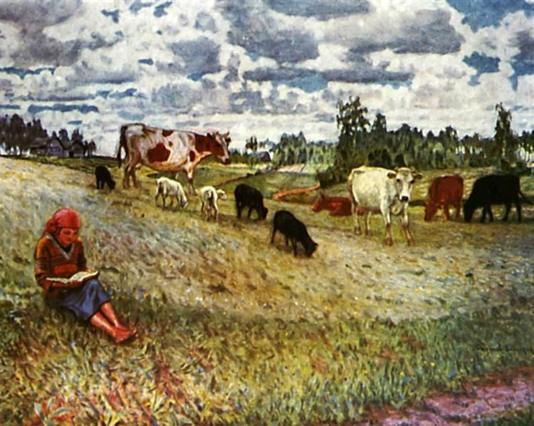 Shepherd Girl, 1924 - Nikolay Bogdanov-Belsky