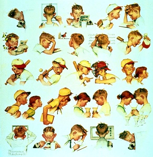 Faces of Boy, 1952 - Norman Rockwell